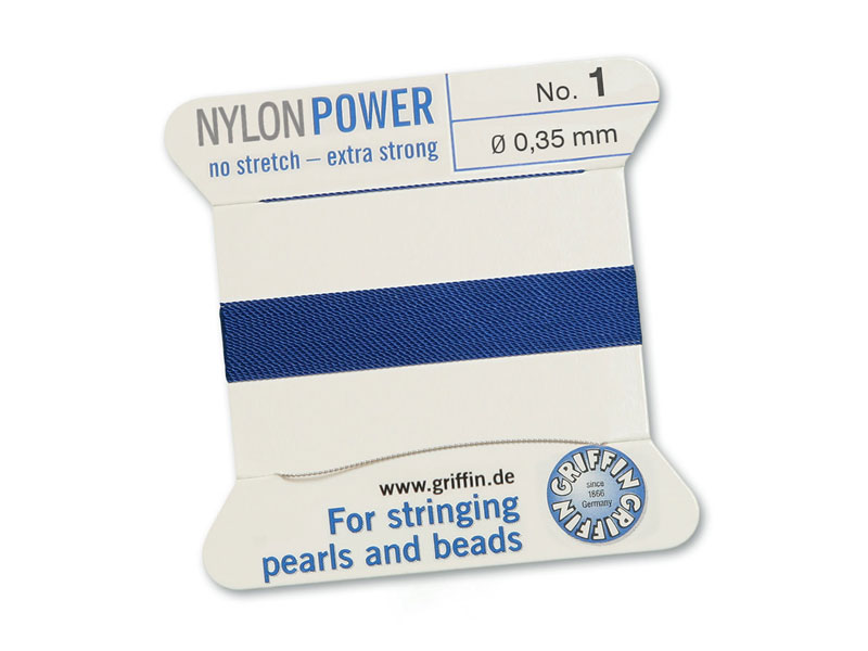 Griffin Nylon Power Beading Thread & Needle ~ Size 1 ~ Dark Blue