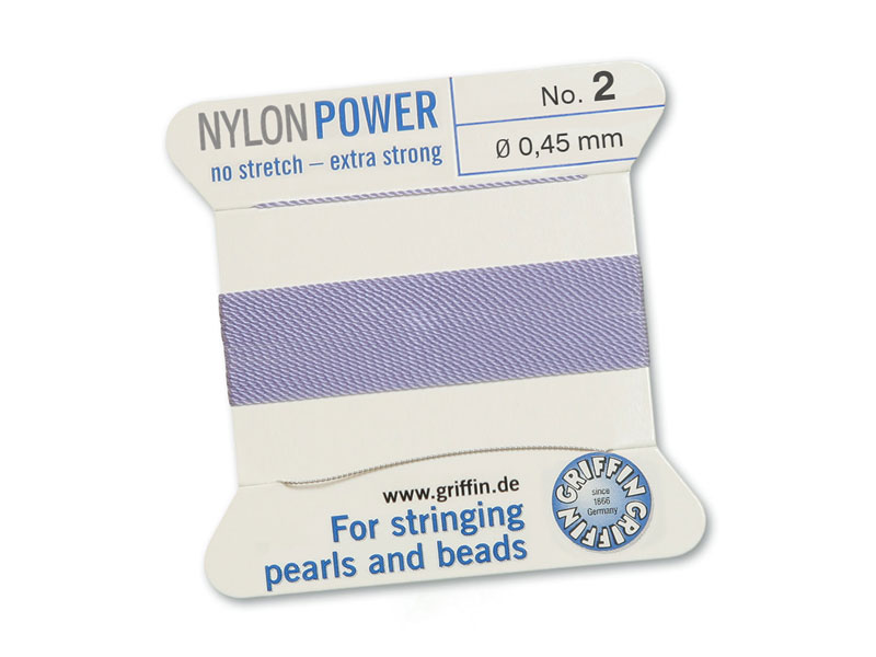 Griffin Nylon Power Beading Thread & Needle ~ Size 2 ~ Lilac
