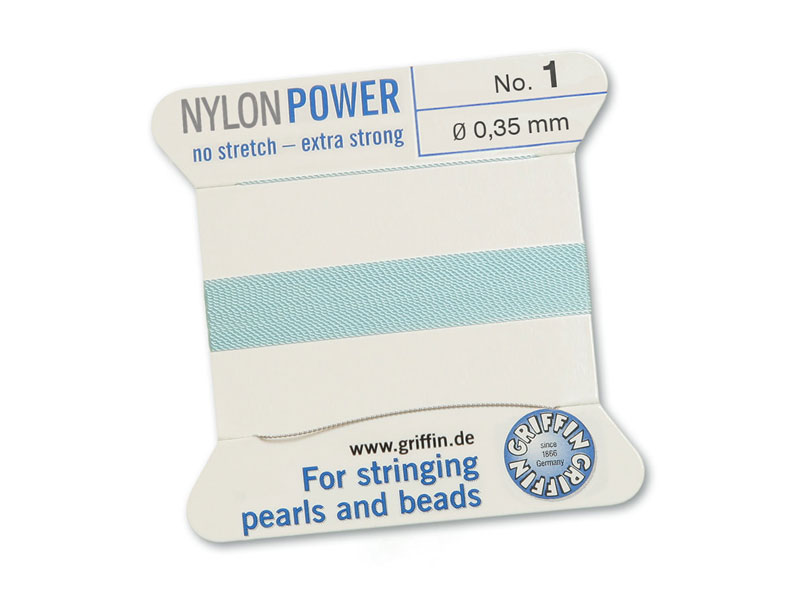 Griffin Nylon Power Beading Thread & Needle ~ Size 1 ~ Light Blue