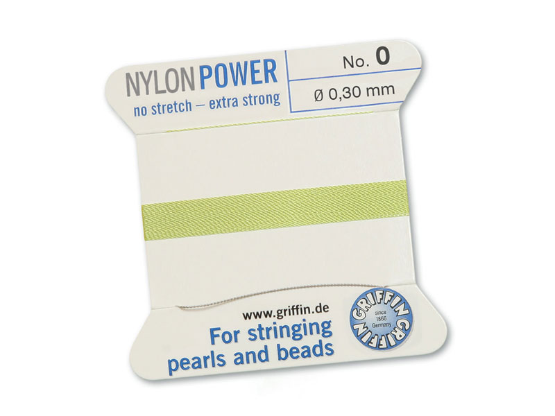 Griffin Nylon Power Beading Thread & Needle ~ Size 0 ~ Jade Green