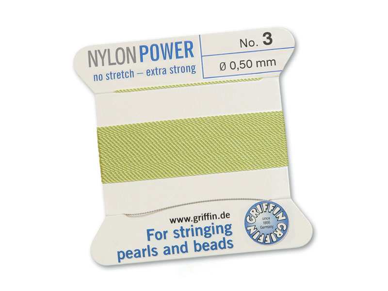 Griffin Nylon Power Beading Thread & Needle ~ Size 3 ~ Jade Green