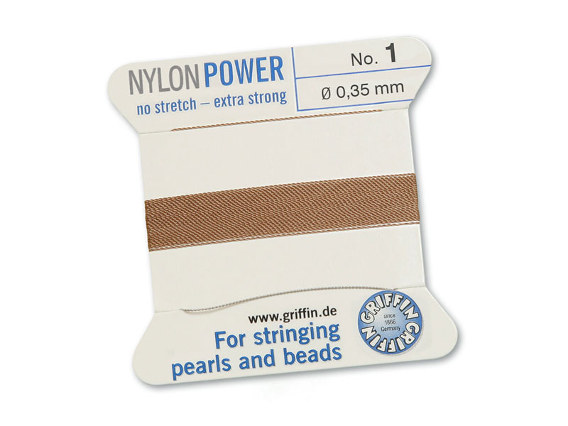 Griffin Nylon Power Beading Thread & Needle ~ Size 1 ~ Beige