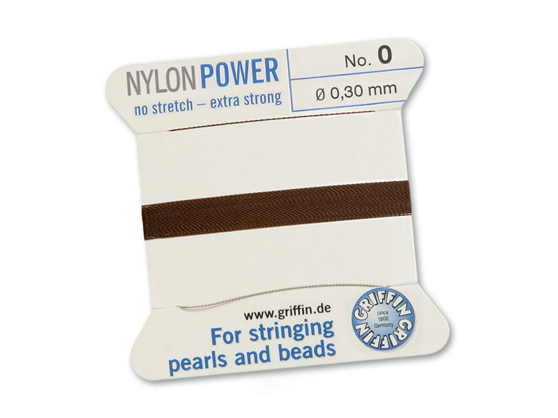 Griffin Nylon Power Beading Thread & Needle ~ Size 0 ~ Brown