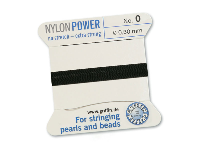 Griffin Nylon Power Beading Thread & Needle ~ Size 0 ~ Black