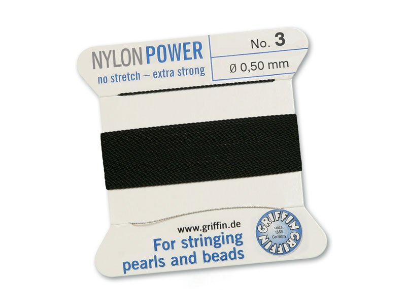 Griffin Nylon Power Beading Thread & Needle ~ Size 3 ~ Black