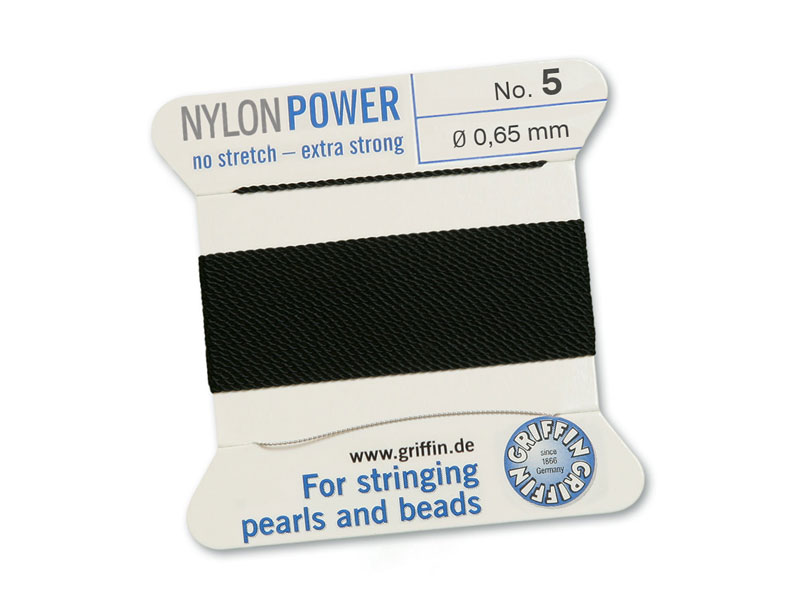 Griffin Nylon Power Beading Thread & Needle ~ Size 5 ~ Black