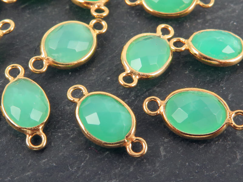 Gold Vermeil Chrysoprase Oval Connector 15mm