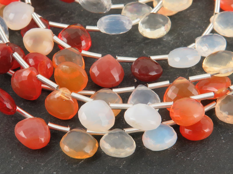 AA Fire Opal Micro Faceted Heart Briolettes 6-8.5mm ~ 10'' Strand
