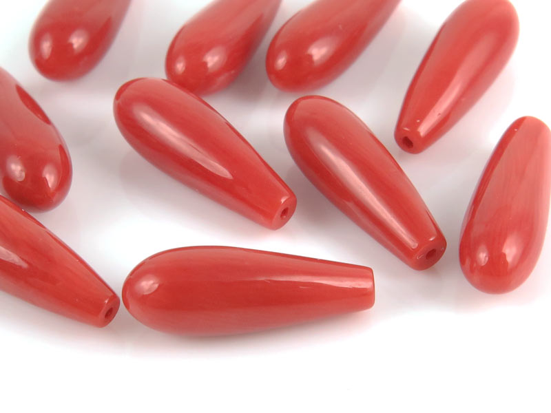 Red Coral Drop ~ Half Drilled ~ 14mm x 5mm