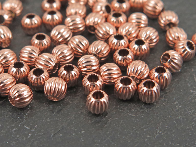 Rose Gold Vermeil Corrugated Round Bead 3mm ~ Pack of 10