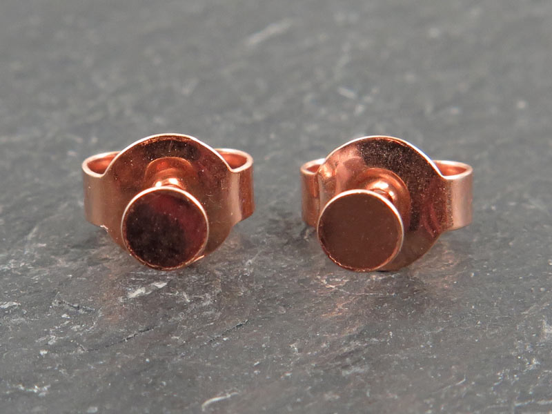 Rose Gold Vermeil Ear Post with Flat Pad and Back 3mm ~ PAIR
