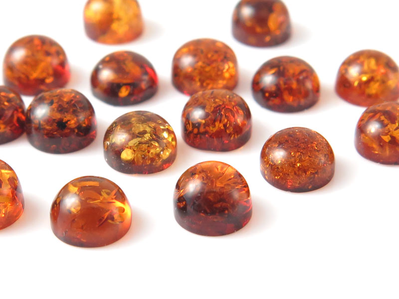 Amber Round Cabochon ~ Various Sizes