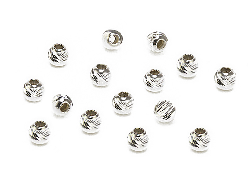 Sterling Silver Multi Cut Bead 4mm ~ Pack of 10
