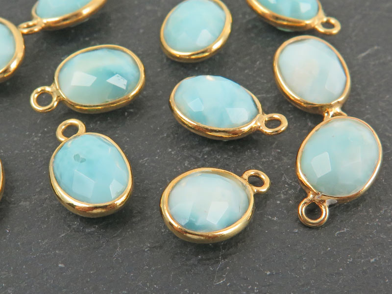 Gold Vermeil Larimar Oval Charm 11-12mm