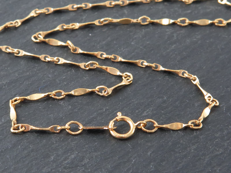 Gold Filled Twisted Bar Chain Necklace with Spring Clasp ~ 20''