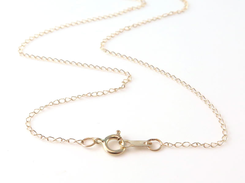 14K Gold Trace Chain Necklace with Spring Clasp ~ 16''