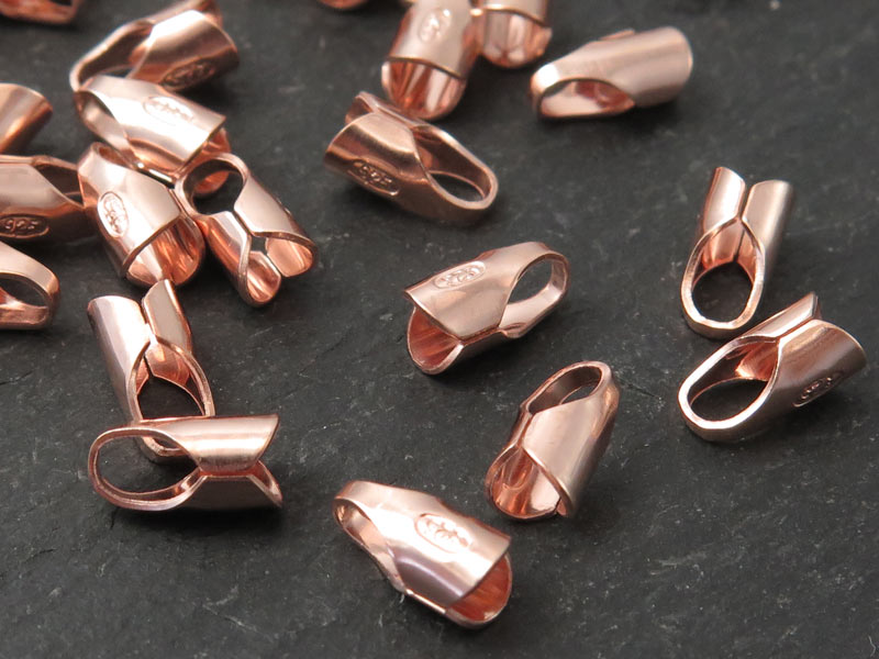 Rose Gold Vermeil Round End Cap 3mm