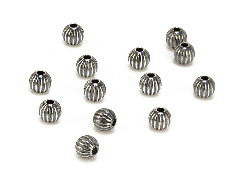 Sterling Silver Oxidised Corrugated Bead 5mm