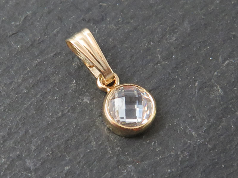 Cubic Zirconia Gold Filled Charm with Bail ~ Brilliant White ~ 4.5mm
