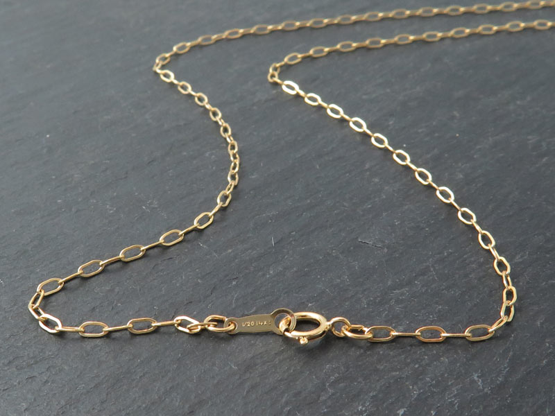 Gold Filled Drawn Cable Chain Necklace with Spring Clasp ~ 16''