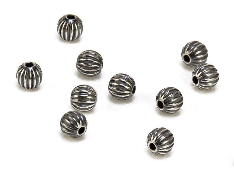 Sterling Silver Oxidised Corrugated Bead 4mm ~ Pack of 10