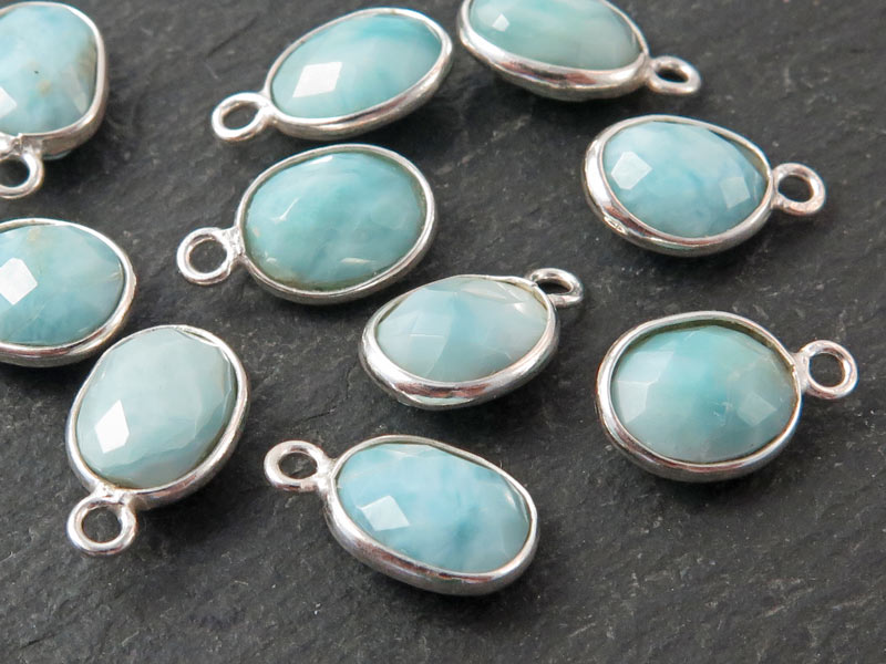 Sterling Silver Larimar Oval Charm 12mm