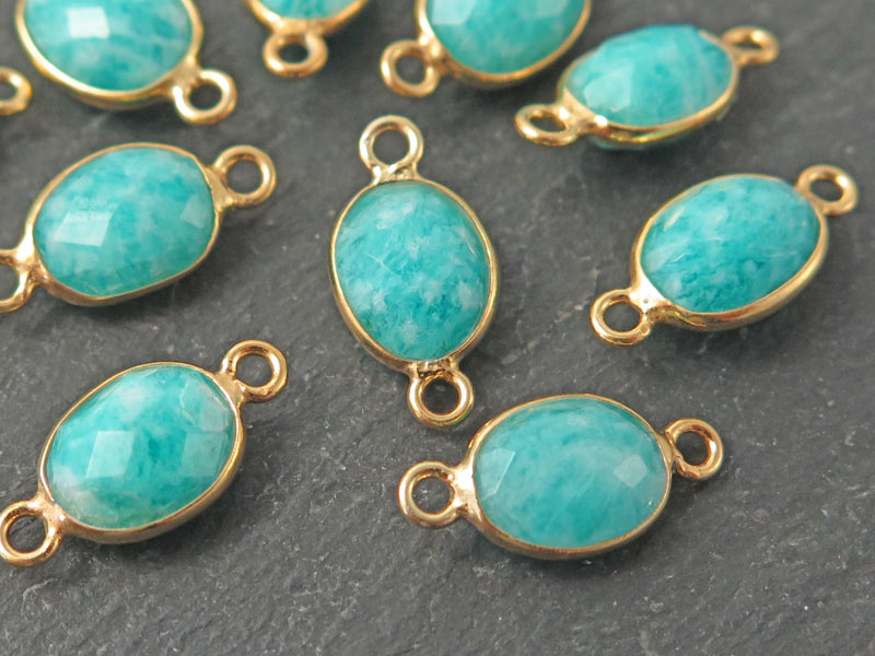 Gold Vermeil Amazonite Oval Connector 14mm