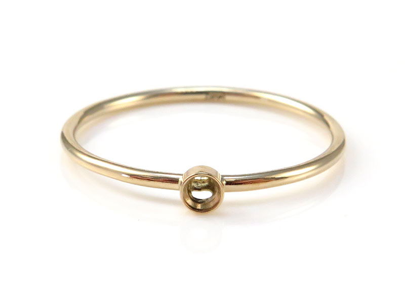 14K Gold Bezel Ring 2mm ~ Size N