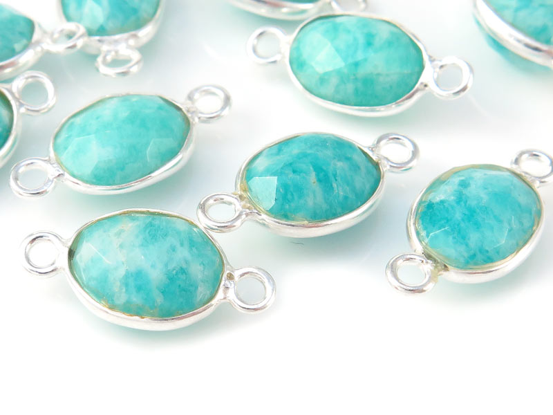 Sterling Silver Amazonite Oval Connector 14mm