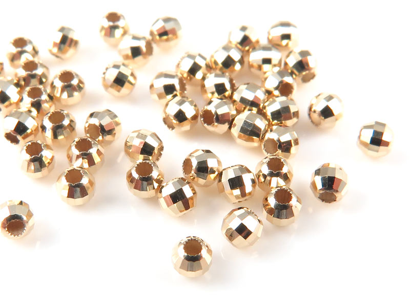 14K Gold Faceted Bead 2mm