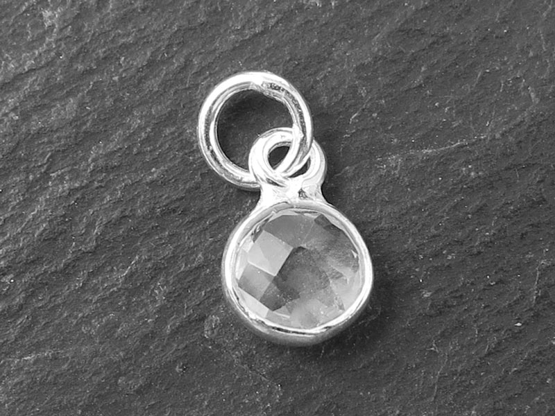 Sterling Silver Crystal Quartz Round Charm 6mm