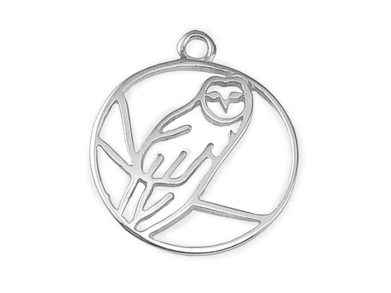 Sterling Silver Owl Pendant 13.5mm