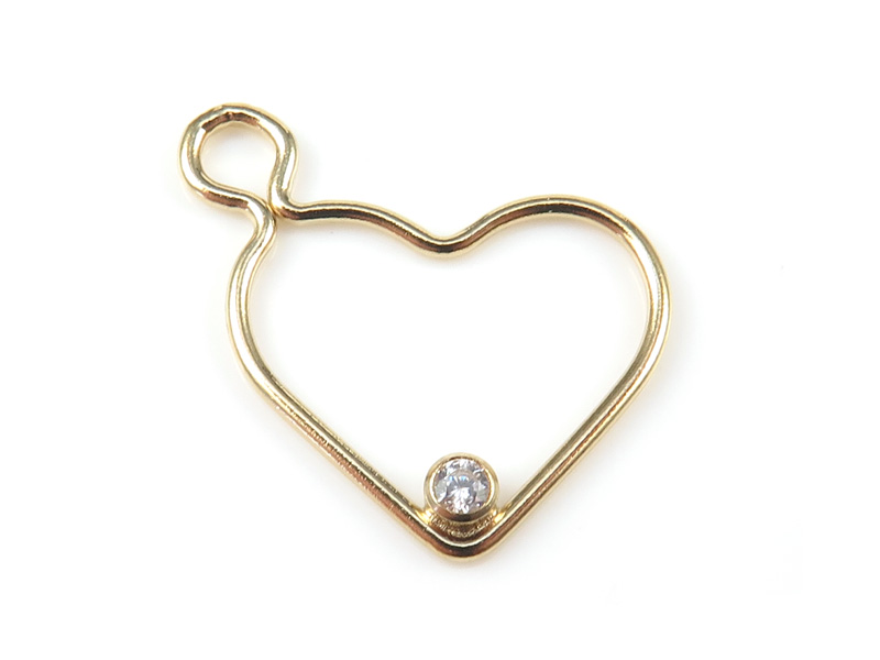 Gold Filled Heart Pendant with CZ (Left) 16mm