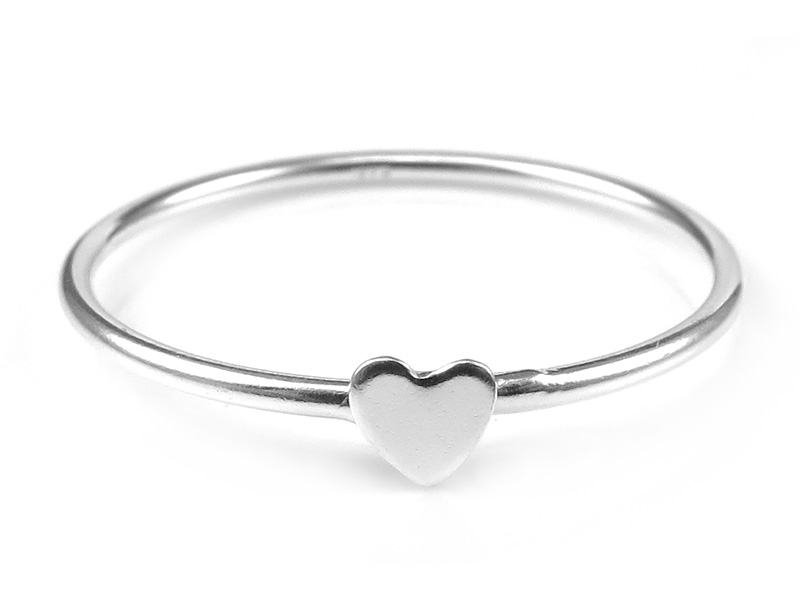 Sterling Silver Stacking Ring with Heart ~ Size R
