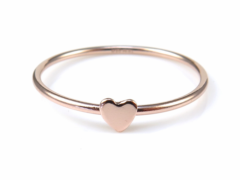 Rose Gold Filled Stacking Ring with Heart ~ Size N