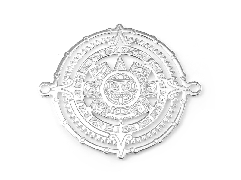 Sterling Silver Mayan Calendar Connector 20mm