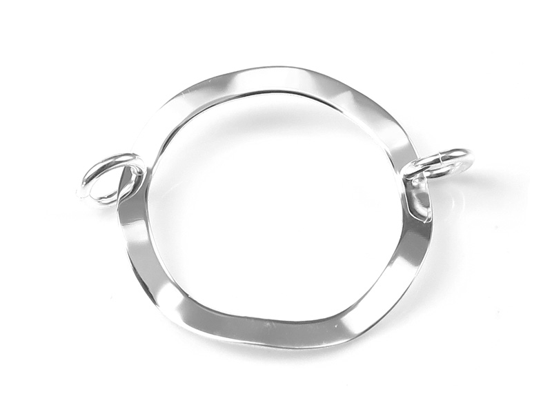 Sterling Silver Hammered Circle Connector 20mm