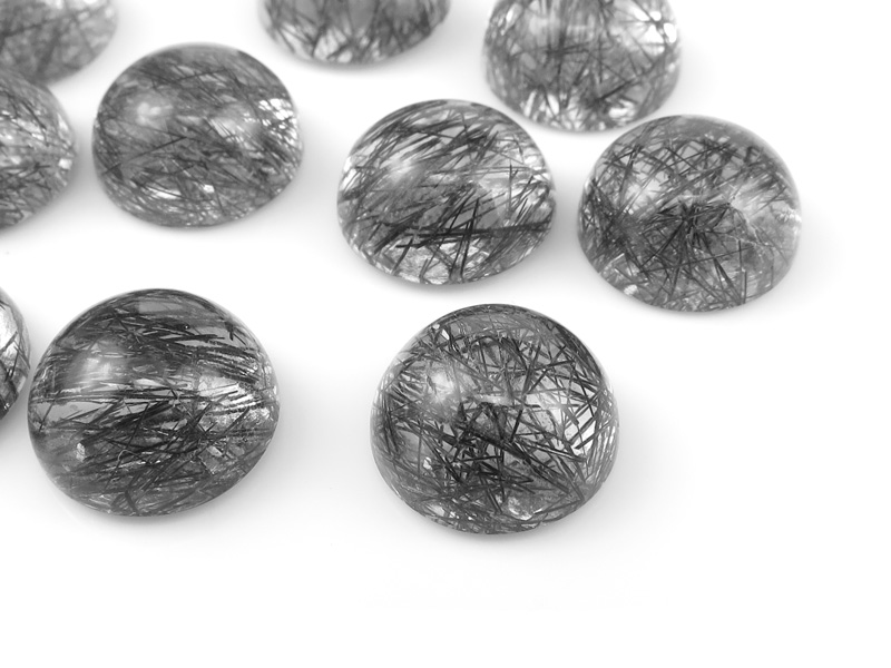Tourmalinated Quartz Round Cabochon 10mm