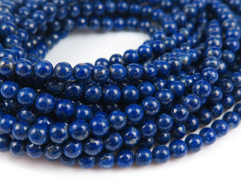 Lapis Lazuli Smooth Round Beads ~ Various Sizes ~ 15.5'' Strand