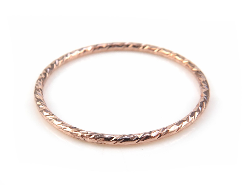 Rose Gold Filled Sparkle Stacking Ring ~  Size L
