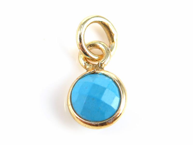 Gold Vermeil Turquoise Round Charm 6mm