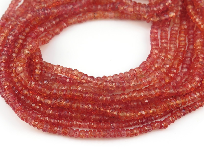 Red Sapphire Faceted Rondelles 2.75-3.25mm ~ 16'' Strand