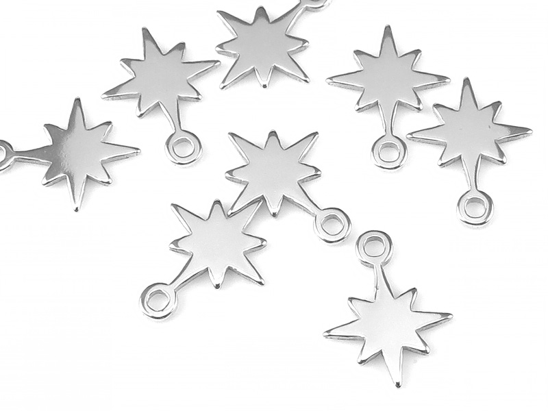 Sterling Silver Pole Star Charm 9mm