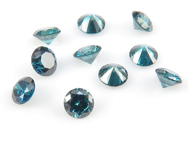 Teal Blue Diamond Faceted Round ~ Various Sizes