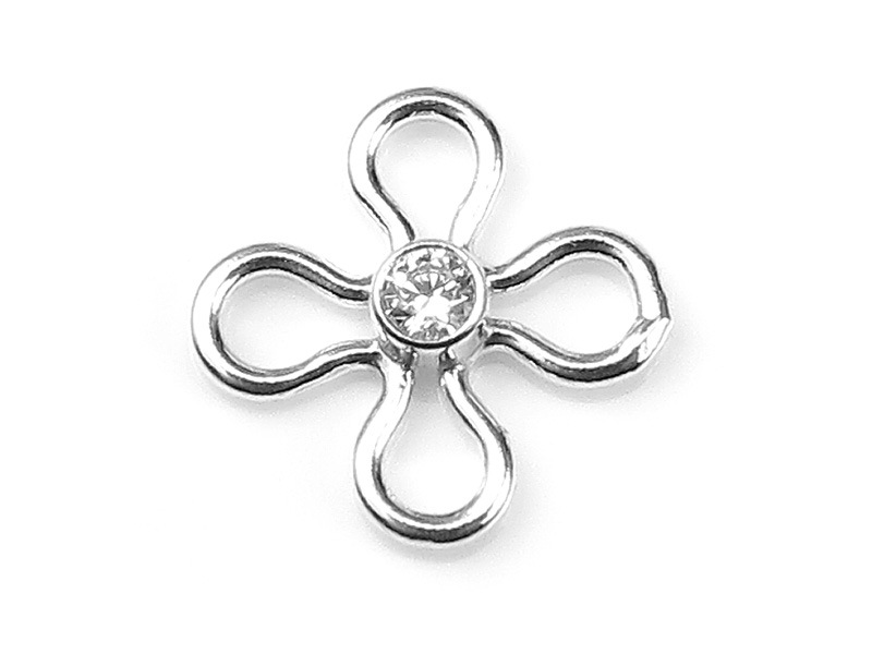 Sterling Silver Flower Connector with CZ 10mm