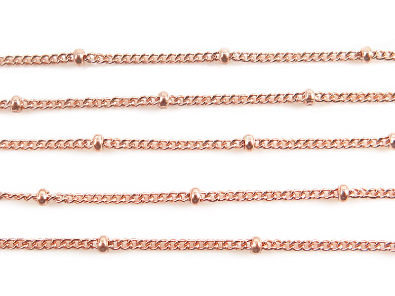 Rose Gold Filled Satellite Chain 1.5 x 1.2mm (16mm ball spacing)  ~ by the Foot