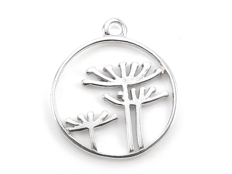 Sterling Silver Queen Anne's Lace Flower Pendant 15mm