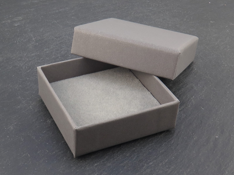 Earring/Pendant Box with Foam Insert ~ Grey ~ 55mm x 55mm