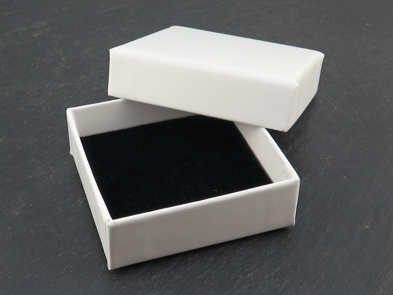 Earring/Pendant Box with Foam Insert ~ White ~ 55mm x 55mm