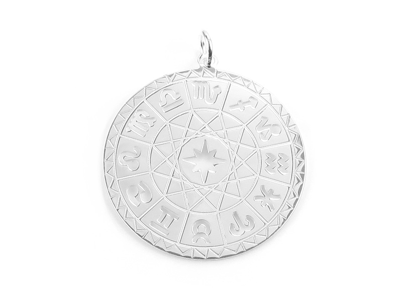Sterling Silver Horoscope Pendant 25mm